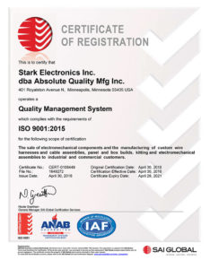 Stark Electronics Inc. and Absolute Quality Manufacturing Inc. management system is certified to ISO9001:2015.